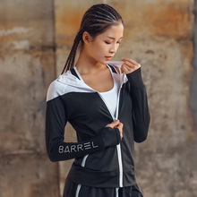 UVINI, Женская Студенческая спортивная куртка на молнии для йоги, бега, фитнеса, тренировочные костюмы, пальто, толстовки с длинным рукавом и капюшоном