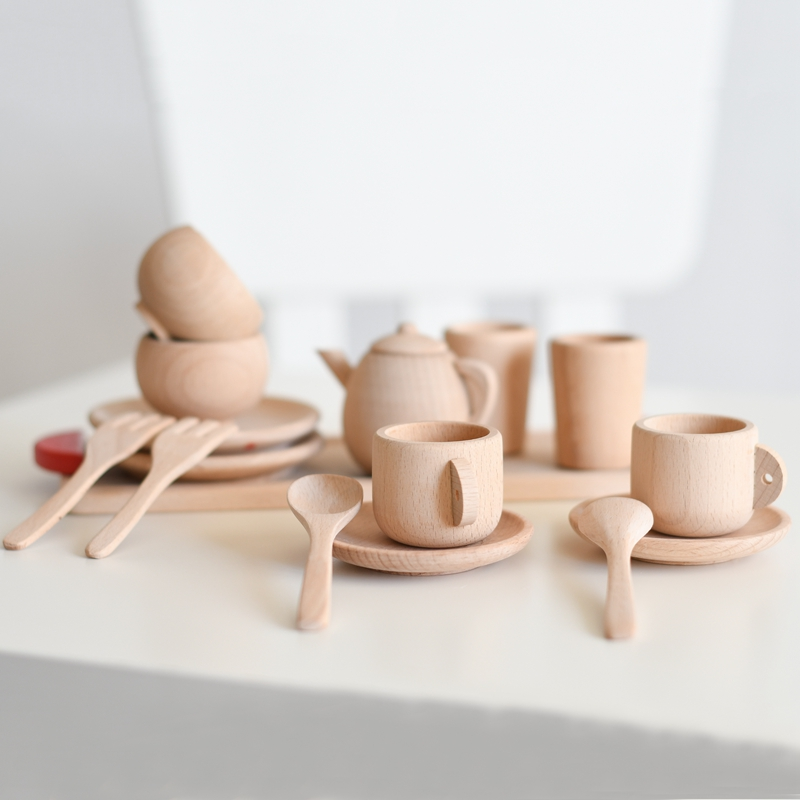 16pc/set Wooden Kitchen Pretend Play Toy Simulation Wooden Tea Toaster Machine Food Mixer Baby Early Learning Educational Toys