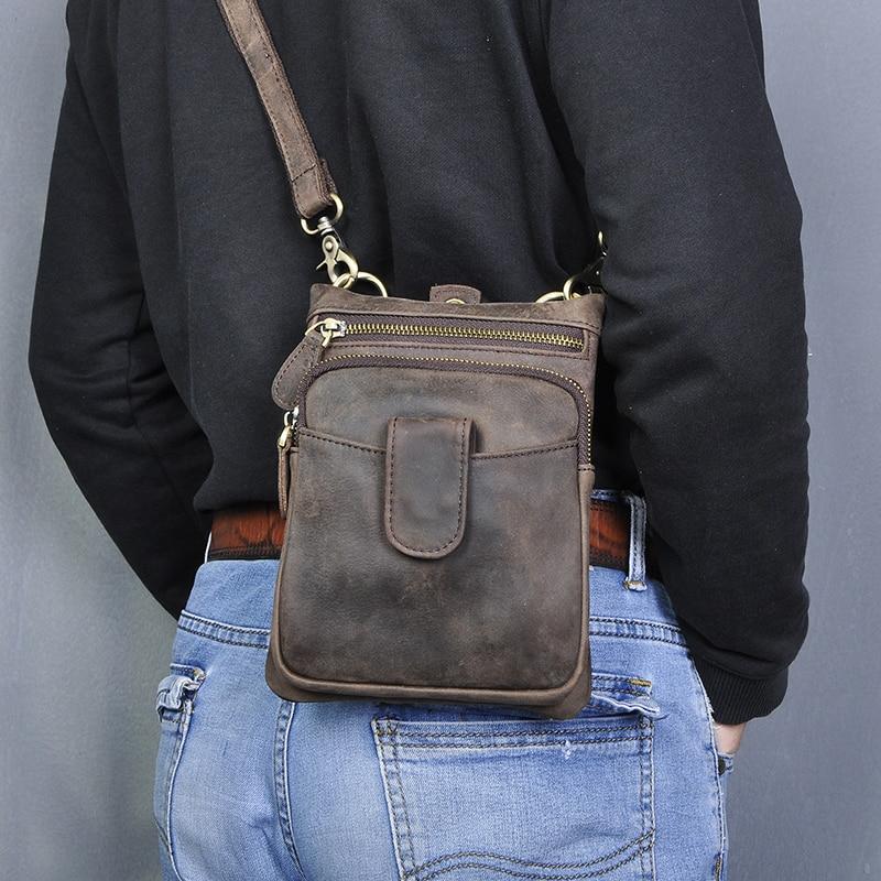 Original Leather Men Casual Fashion Mochila Crossbody Messenger Bag Designer Male Waist Belt Pack Cigarette Tablets Pouch 6549-c