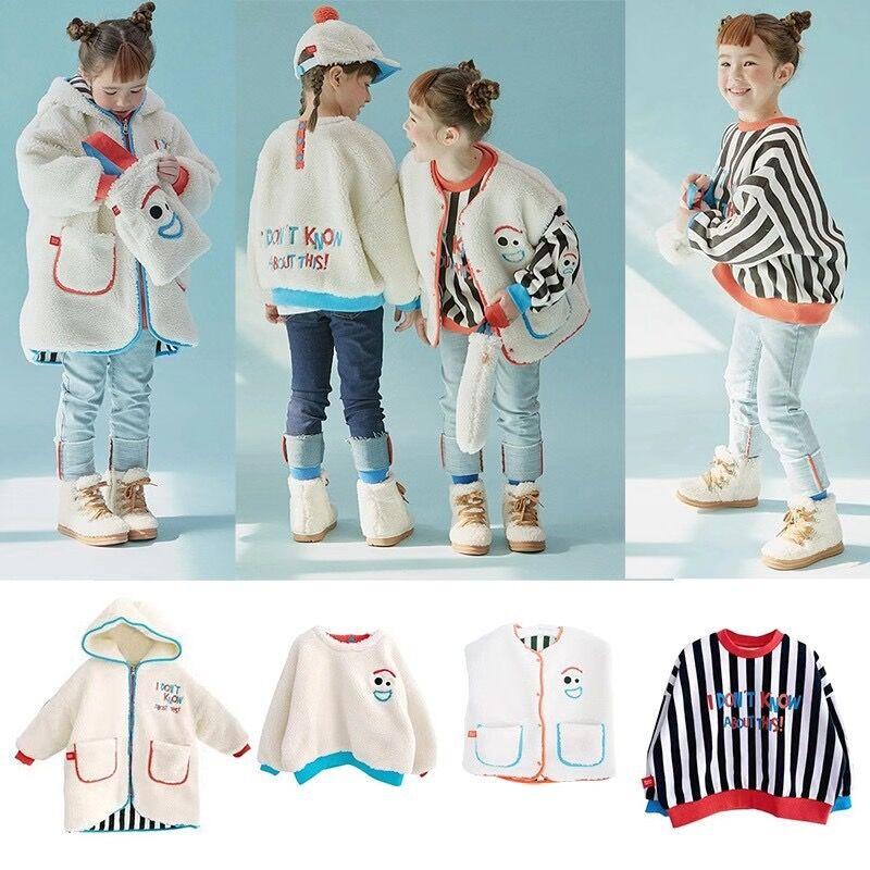 RJ Korea Brand 2021 New Winter Boys Coats Kids Jackets for Girls Cartoon Caca Fur Thick Warm Children Clothes Baby Outwear 1