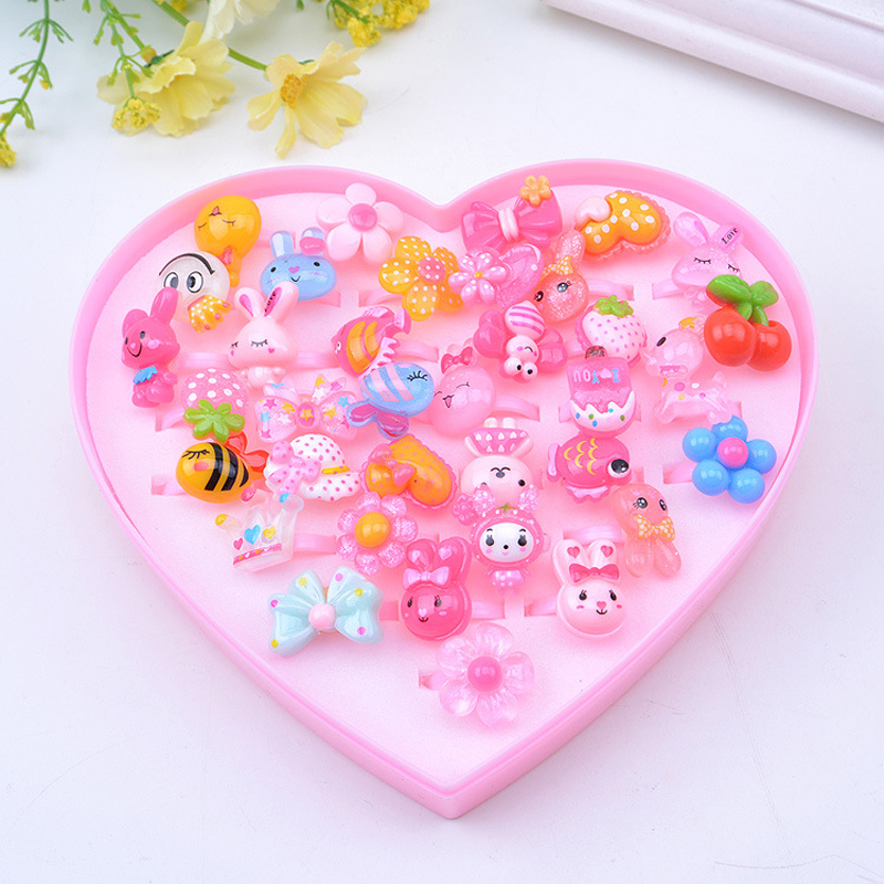 36pcs/Set with Box Cute Cartoon Rings Toys for Baby Girls Pretend Play Game Colorful Kid Beauty Fashion Birthday Party Xmas Gift image