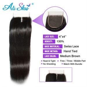 Image 4 - Alisky бразильские волосы прямые 3 пряди с закрытием человеческие волосы пряди с закрытием кружева Remy человеческие волосы для наращивания