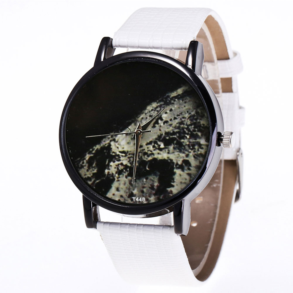 Couple Watches Moon Surface Printed Watches Quartz Watch Faux Leather Strap Fashion Watches With Round Dial For Men Women LL@17