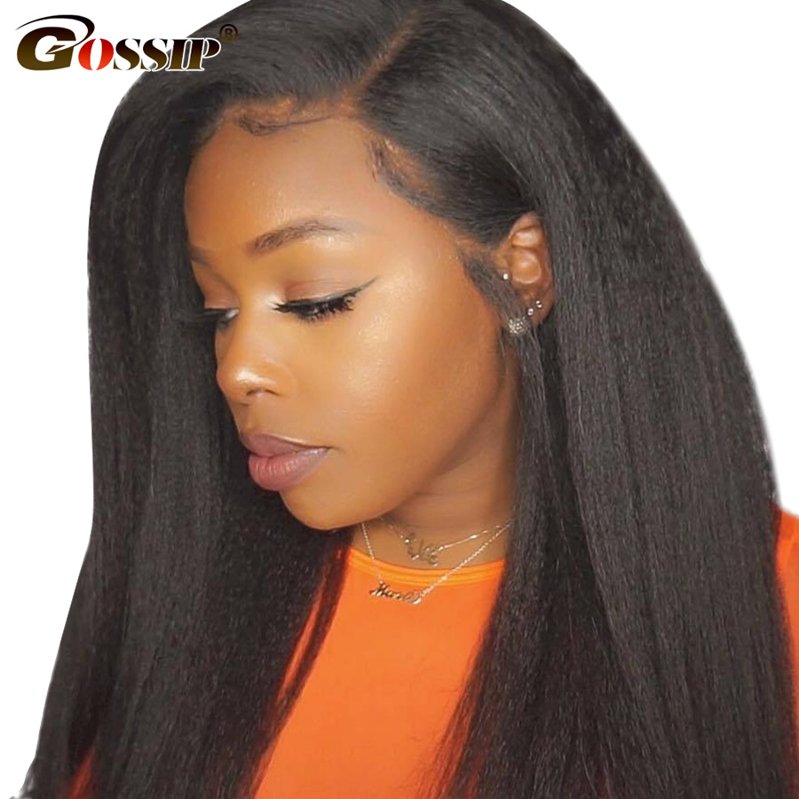 360 Lace Frontal Wig Kinky Straight Lace Wig Brazilian Human Hair Wigs Gossip Remy Lace Front Human Hair Wigs For Black Women
