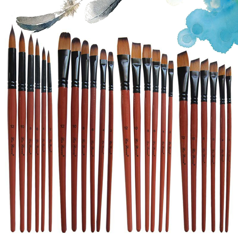 6Pcs/set Paint Brush Watercolor Oil Painting Flat/Round/Slant Hook Nylon Hair Diy Watercolor Pen For Artists Painters Beginners