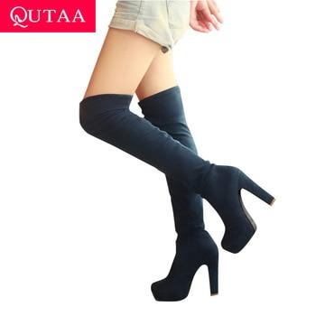 QUTAA 2017 Novas Mulheres Camurça Moda Sexy Sobre as Botas Do Joelho Sexy Botas de Salto Alto Fino Plataforma Sapatos de Mulher Preto Azul tamanho 34-43