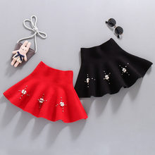 Baby Girls Princess Flower Wool Blend Skirt High Quality Kids Waist Knitted Mini With Pearls Preppy Style 4-13