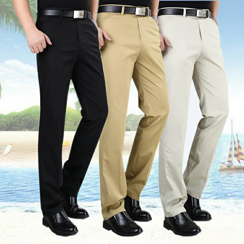 Summer Thin Section Pure Cotton Middle-aged MEN'S Casual Pants Loose Straight Plus-sized Middle-aged Men's Trousers Dad Long Pan