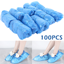 reusable step in sock portable auto package overshoes waterproof shoe covers shoe boot cover automatic 100Pcs Plastic Waterproof Disposable Shoe Covers Overshoes Rain Shoe Covers Mud-proof Cleaning Shoe Cover Blue Overshoes
