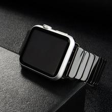 Ремешок керамический для Apple Watch Band 44 мм 40 мм, звеньевой браслет из нержавеющей стали с пряжкой для iwatch band 42 мм 38 мм, Apple watch 6 SE 5 4 3