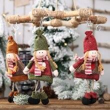 Small Non-Woven Doll Christmas Pendant Tabletop Holiday Figurines Ornaments Present Tree Decorations NavidadGM