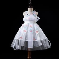 Платья с цветочным узором для девочек на свадьбу; белые, розовые платья для причастия для девочек; пышные платья для детей