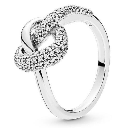925 Серебряное кольцо Pave узлом в форме сердца символ любви с украшением в виде кристаллов, кольцо для женщин, Свадебная вечеринка, подарок, из...