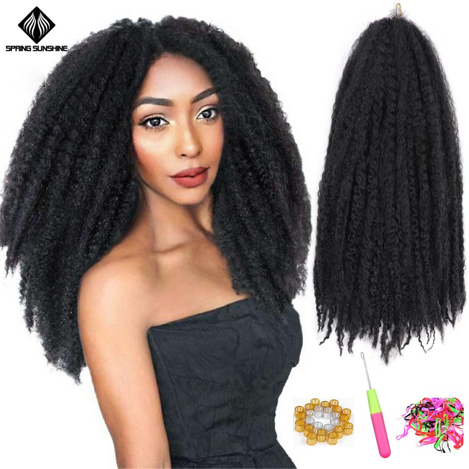 18inch Marley Braids Synthetic Afro Kinky Curl Crochet Braid Yaki Ombre Braiding Hair Extensions Bulk Black Brown Burgundy