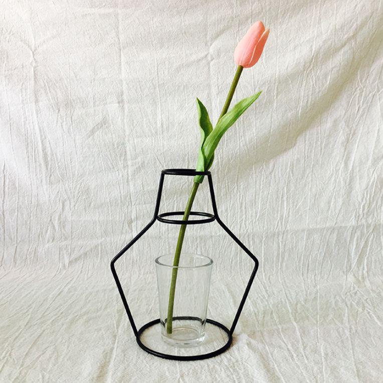 Новая креативная ваза DIY вечерние ваза черный держатель для растений подставка держатель железный провод цветок вазы орнамент жизнь - Цвет: C