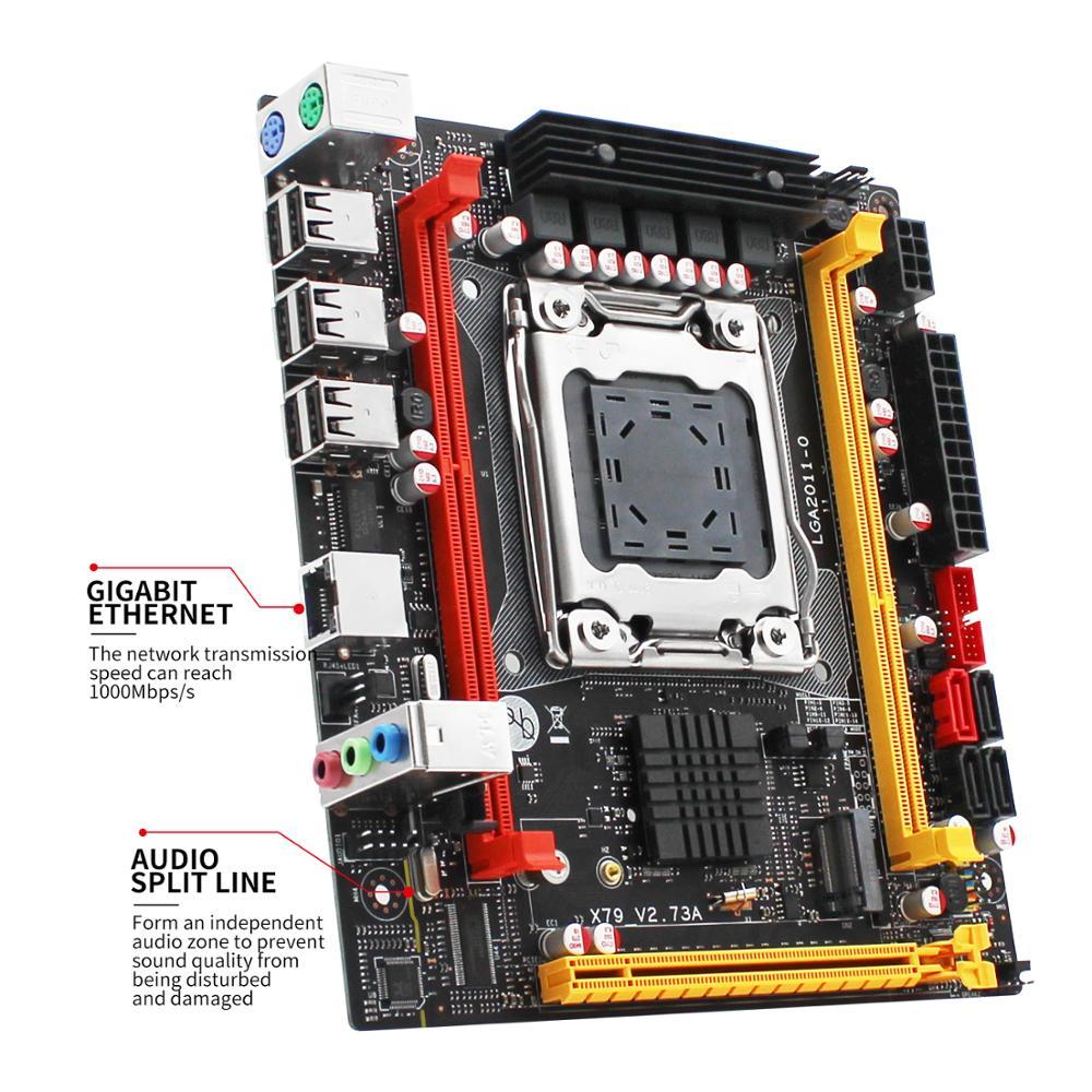 X79 motherboard LGA 2011 USB2.0 SATA3 Dual protocol m.2 support DDR3 REG ECC memory and Xeon E5 processor X79 V2.73A 3