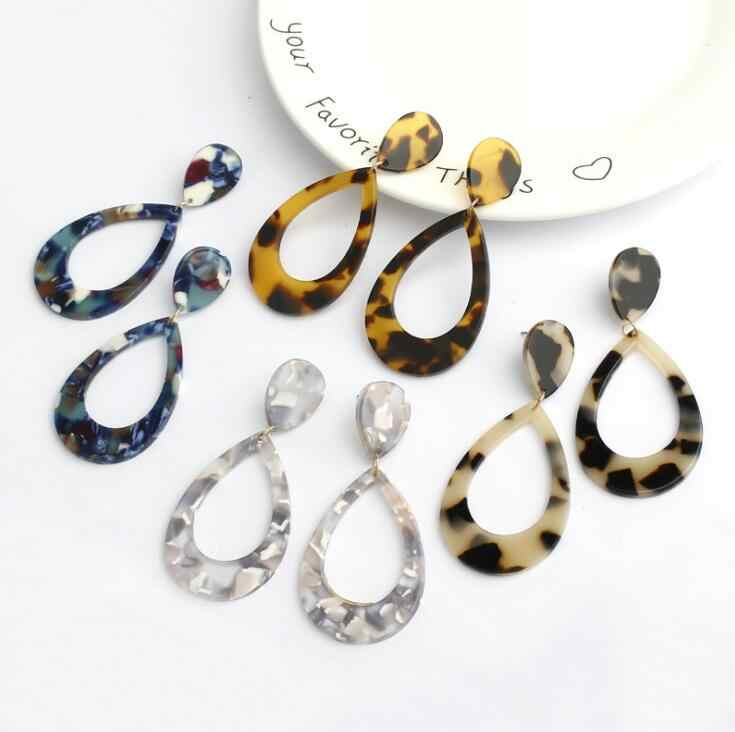 Korean Black Round Acrylic Earrings Leopard Print Water Drop Resin Dangle Drop Earrings For Women Earings Fashion Jewelry 2019