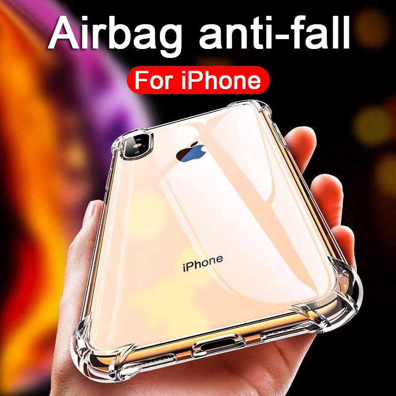 Luxury clear Shockproof Phone Case For iPhone 11 12 X Xr Xs Max Case 11 12 Pro Max 8 7 6s Plus SE 2020 Silicone Case Back Cover