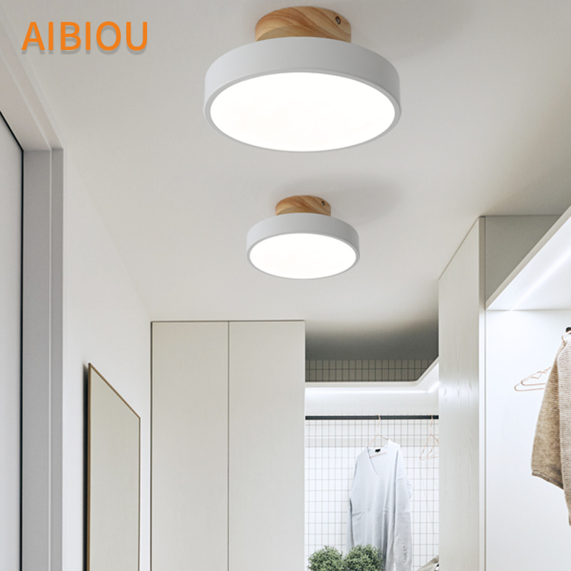 AIBIOU Wooden Base 220V LED Ceiling Lights Modern Round Ceiling Lamp For Corridor Metal Surface Mounted Home Lighting Fixture
