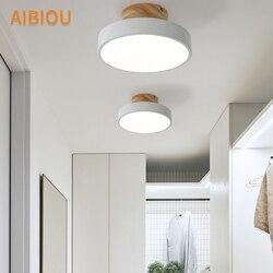 AIBIOU drewniana podstawa 220V LED lampy sufitowe nowoczesne okrągła lampa sufitowa do korytarza metalowe do montażu na powierzchni domu oprawę oświetleniową