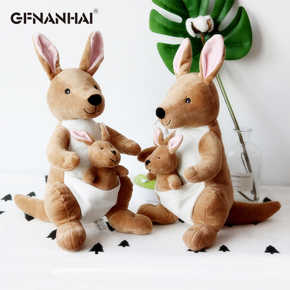 1pc 36cm Cute Creative Mother And Child Kangaroo Doll Plush Toy Soft Stuffed Plush Doll Baby Children Birthday New Year Gift