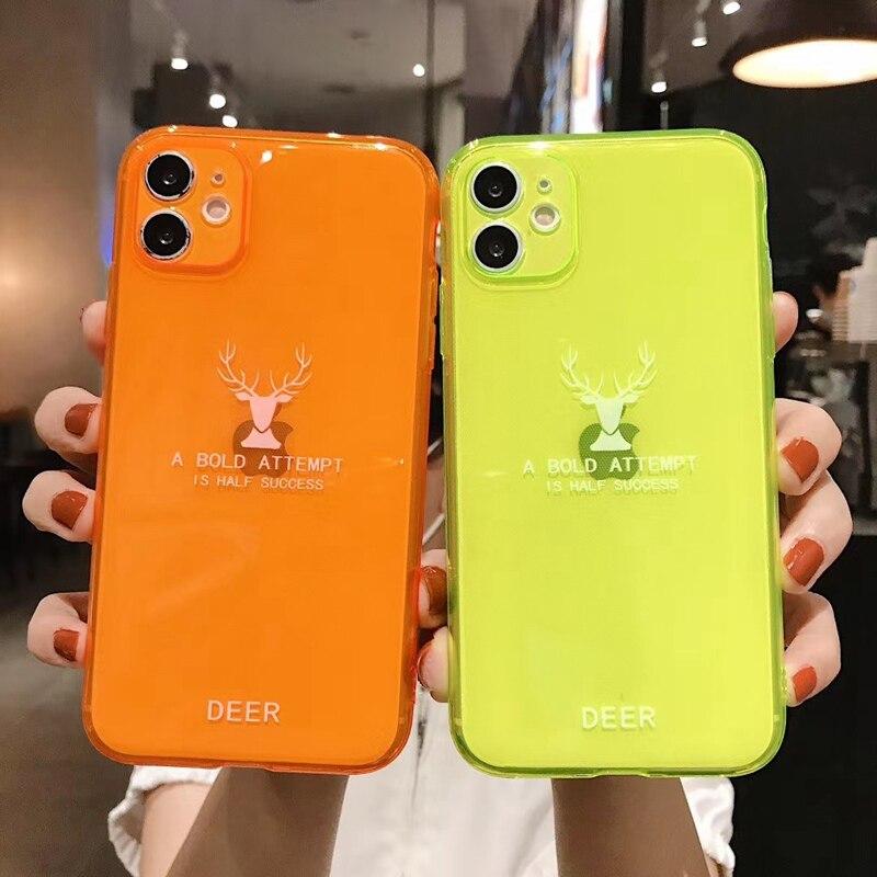 100WD неоновый флуоресцентный цветной чехол для iPhone SE 2020 11 Pro Max мягкий TPU прозрачный чехол для iPhone 7 8 Plus X XR Xs Max SE2 2|Специальные чехлы|   | АлиЭкспресс