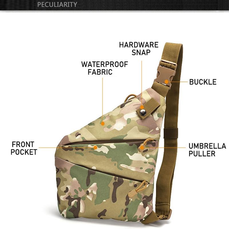 Çok fonksiyonlu gizli taktik depolama tabancası çantası kılıfı erkek sol sağ naylon omuzdan askili çanta anti hırsızlık çanta göğüs çantası avcılık title=