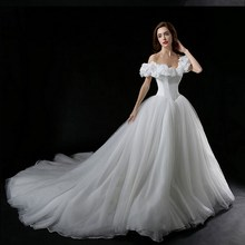 Real Photos boat neck movie Cinderella Princess 2018 Vestido De Noiva bridal Ball Gown Cap Sleeve
