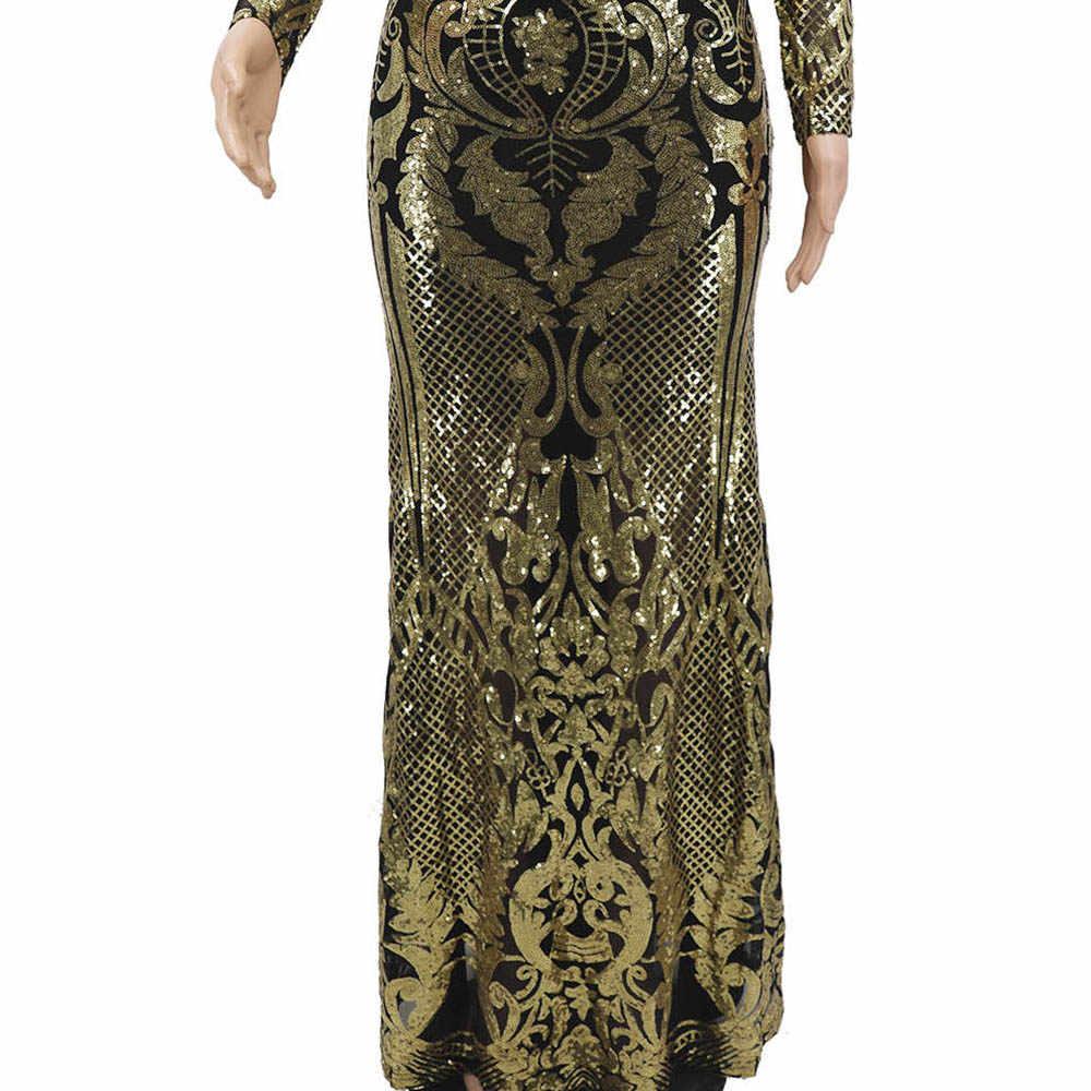 אפריקאי נשים פאייטים טלאים ערב המפלגה שמלת יוקרה מבריק ארוך Fromal נשף שמלה סקסי Bodycon ארוחת ערב robe de soiree
