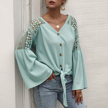 Simplee Sexy v-neck women blouse Elegant lace embroidery hollow out loose sleeve office tops Lace up autumn female blouse shirts