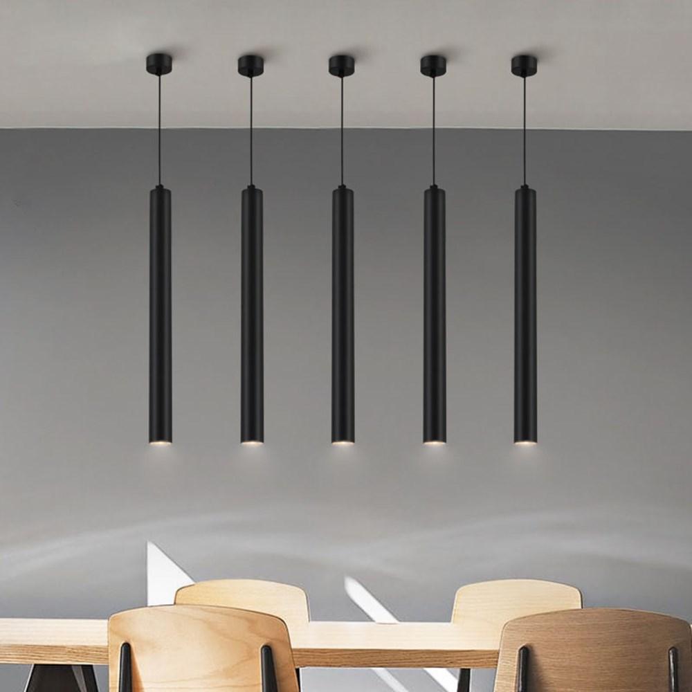 Mini 30mm Led Pendant Light Long Tube Hanging Kitchen Lights Fixture Black White Length Adjustable For Kitchen Bad Stores Office