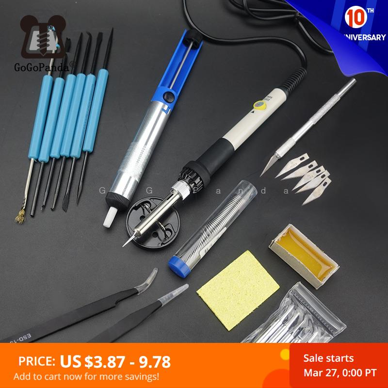 Adjustable Temperature Electric Soldering Iron 220V 60W Welding Solder Rework Station Heat Pencil 5pcs Tips Repair Tool
