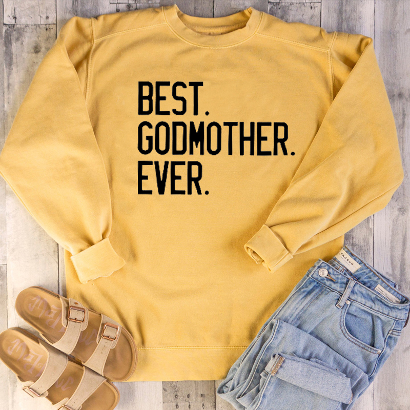Women Funny Cute Graphic Mother Days Gift Pullovers Pure Cotton Casual Youngs Quote Tops Best Godmother Ever Sweatshirt image