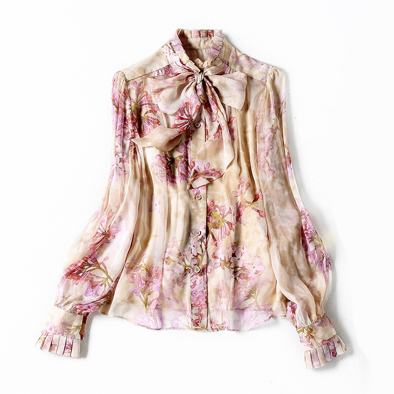 100% Silk Women's Shirt Stand Collar Lace Up Bow Ruffles Long Sleeves Floral Printed Shirt with Tank Tops