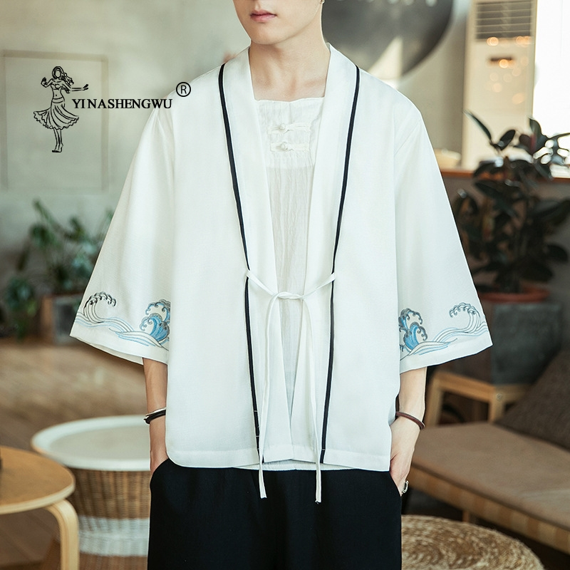 Kimono Cardigan Men Japanese Kimono Traditional Beach Thin Asian Clothes Yukata Male Fashion Casual Cardigan Shirt Japan Kimonos