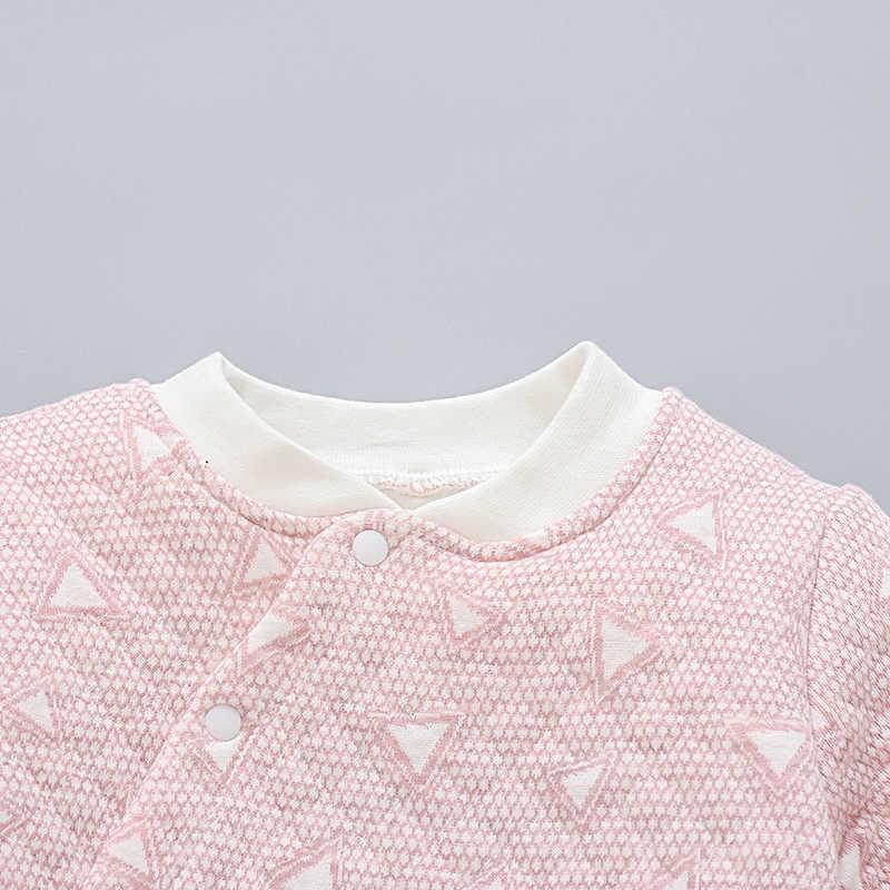 Mono de manga larga de triángulo lindo para bebé y niña con botones en la parte inferior de primavera Otoño Invierno de algodón con cuello redondo