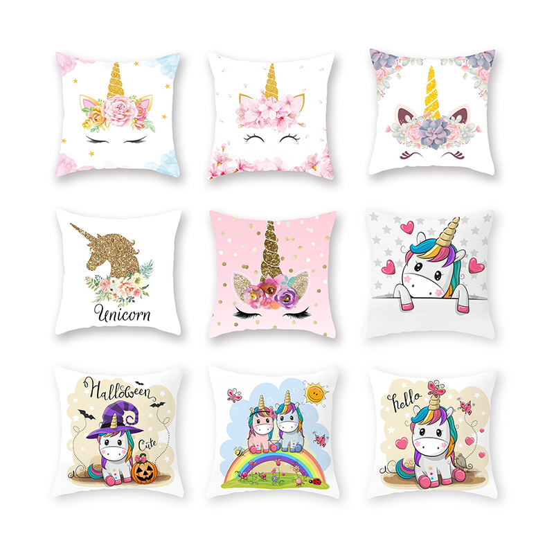 Polyester Cushion Cover Cartoon Unicorn Pattern Sofa Car Throw Waist Pillow Case Living-room Home Decorative Pillowcase 45x45cm
