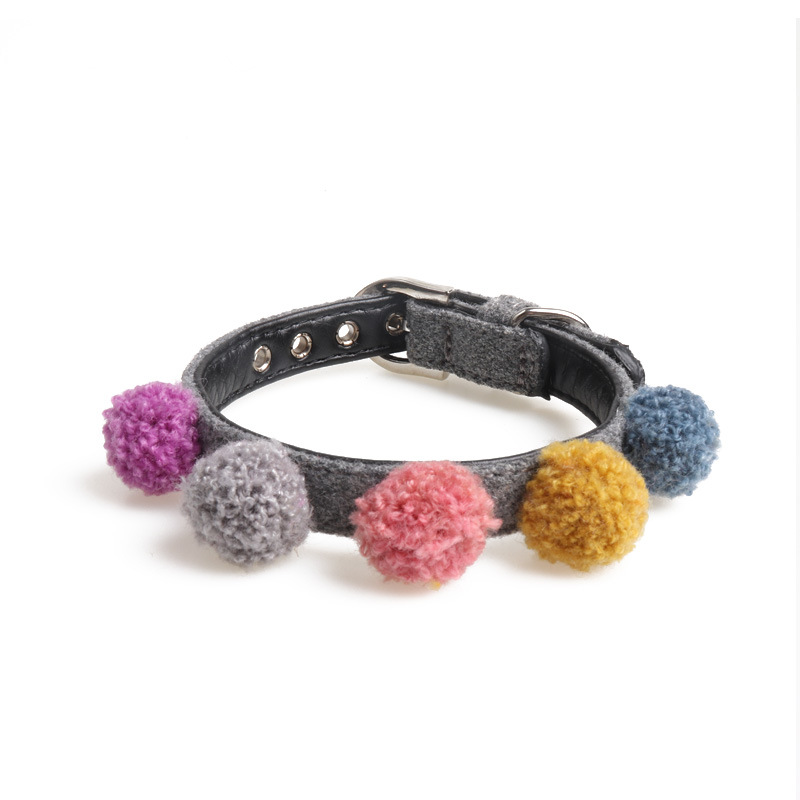 Amin Lattice Origional Pet Supplies Dog Neck Ring Pu Material Plush Ball Series Pet Decoration Manufacturers Direct Selling