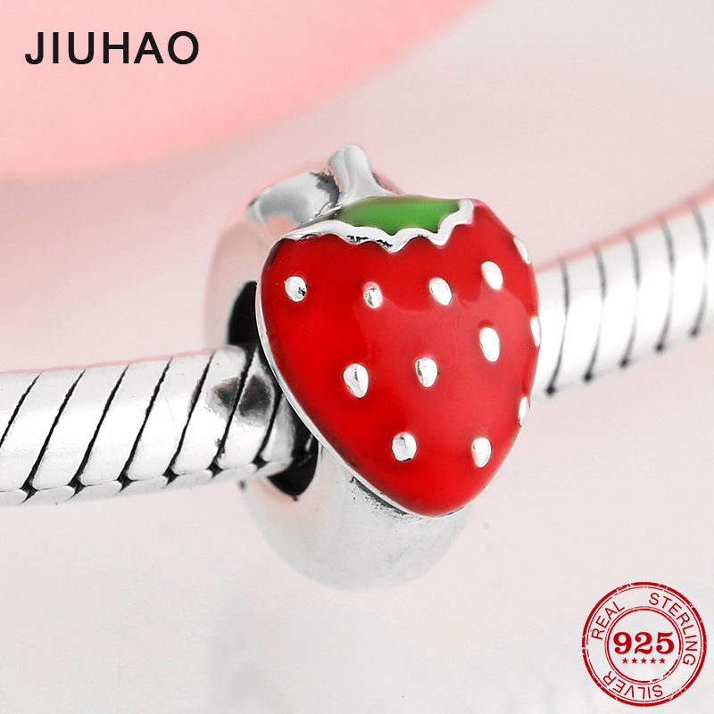 New 925 Sterling Silver Big Red Strawberry Enamel Fine Spacer Stopper Beads Fit Original Pandora Charm Bracelet Jewelry Making