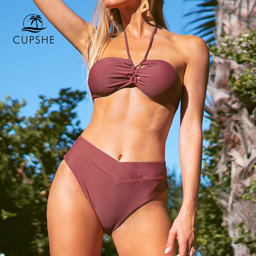 CUPSHE Dusty Rose Halter Bandeau Bikini Sets Sexy High-waisted Swimsuit Two Pieces Swimwear Women 2019 Beach Bathing Suits