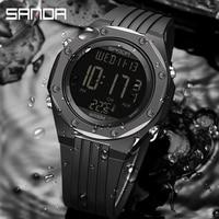 SANDA NEUE Mode Militär männer Uhren Körper Temperatur Monitor 50M Wasserdicht Sport Uhr LED Elektronische Armbanduhren 6028