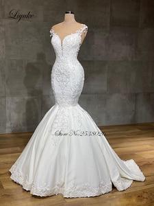 Image 5 - Liyuke 2020 projektant syrenka suknia ślubna prawdziwa praca całe z koralików suknia ślubna makijaż