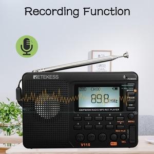 Image 5 - 2 قطعة Retekess V115 FM/AM/SW راديو استقبال باس الصوت مشغل MP3 REC مسجل صوتي مع النوم الموقت راديو متعدد الموجات
