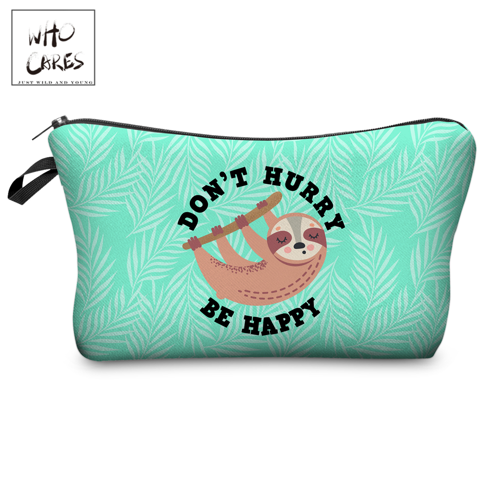 Who Cares Makeup Bags Women Cosmetic Bag Cartoon Sloth Printing Oiletry Bag Cosmetics Pouchs For Travel Make Up Bag
