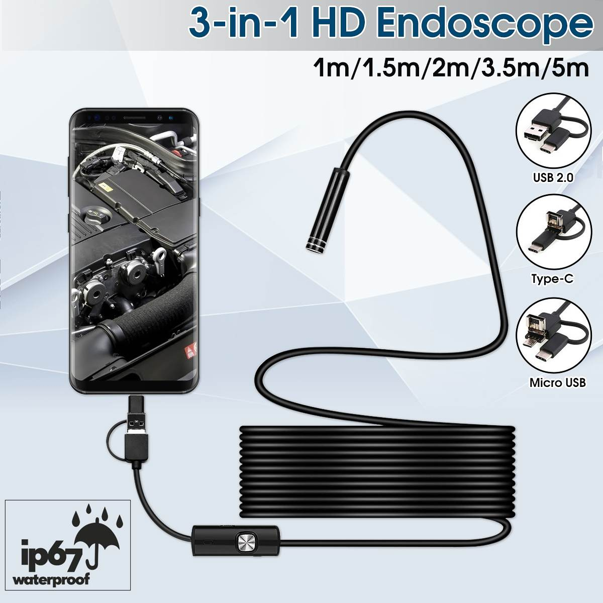 7mm Endoscope USB/Type-C/ Micro USB 3-in-1 Endorscope Camera Flexible IP67 Waterproof Inspection Borescope Camera for Android image