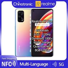 Realme için X7 Pro 8GB 128GB 5G cep telefonu Dimensity 1000 6.55