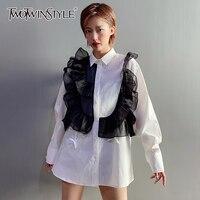 TWOTWINSTYLE camicia a rete Casual con volant Patchwork per donna bavero manica lunga Hit Color Chic camicetta moda femminile nuovi vestiti