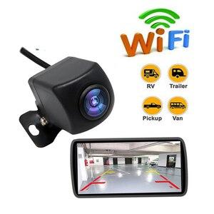 Wifi sem fio hd câmera de visão traseira do carro câmera de backup 170 ângulo visão ampla ip67 à prova dip67 água reversa backup automático cam para carros 12v
