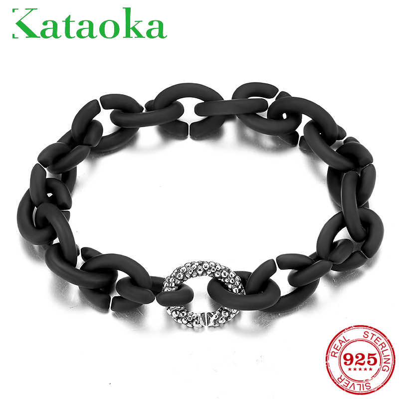 Fashion black Hard Rubber Bracelets  clips bead For Women Jewellery European style Bracelet Men Jewelry Diy Gift