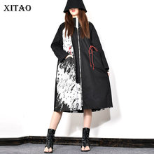 XITAO Print Patchwork Draw String Waist Casual Trench Women 2019 Winter Fashion